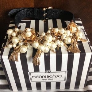 Henri Bendel Leather Pearl Petal Necklace NWOT